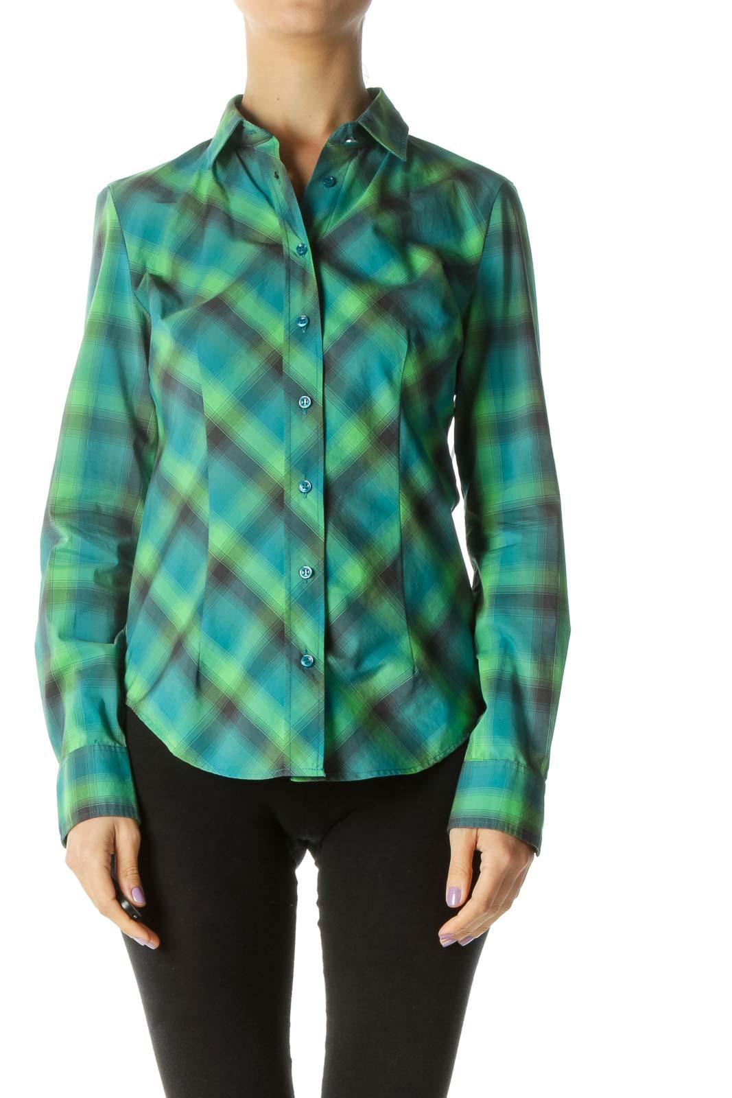Green Multicolor Button-down Plaid Shirt