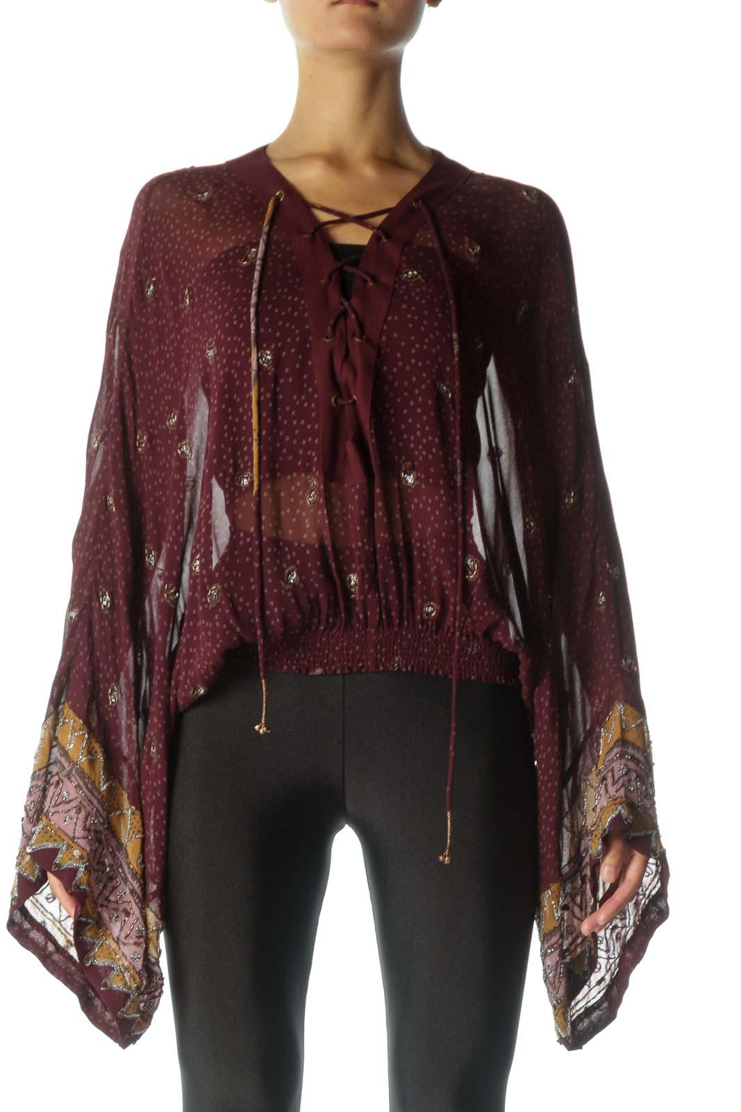 Burgundy Lace-Up Sheer Blouse