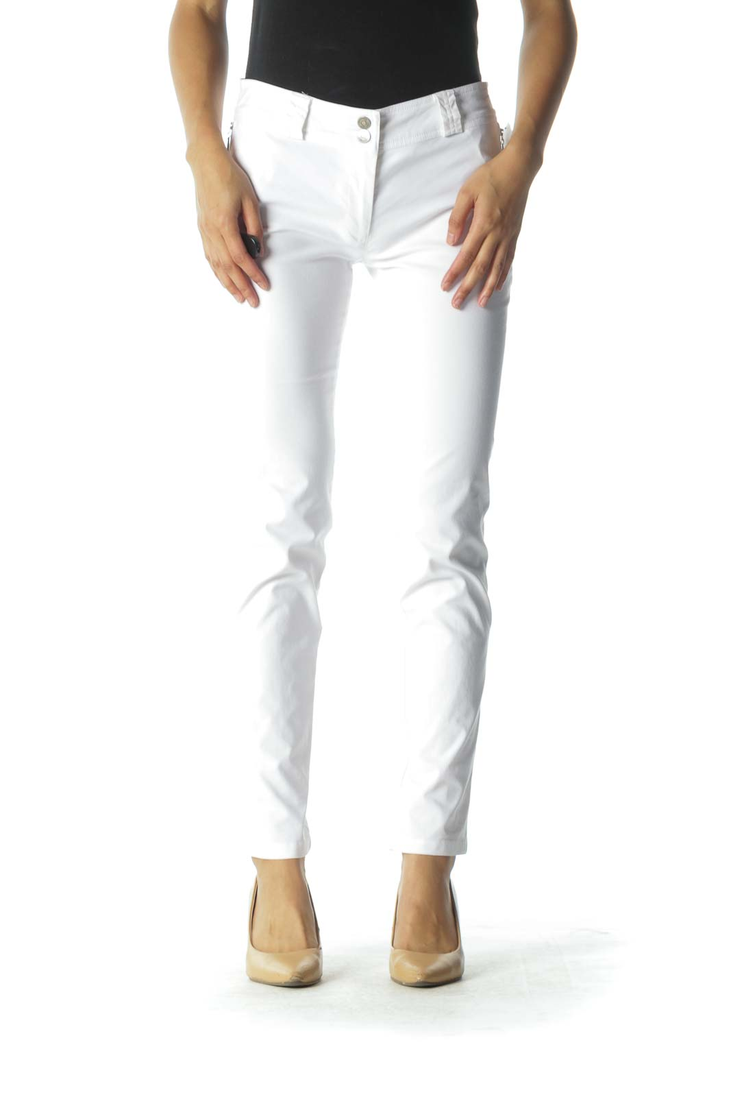 White Zippered Pockets Slim-Fit Pants