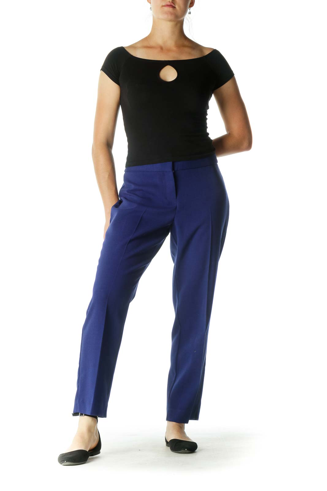 Blue Curvy Tapered Pants
