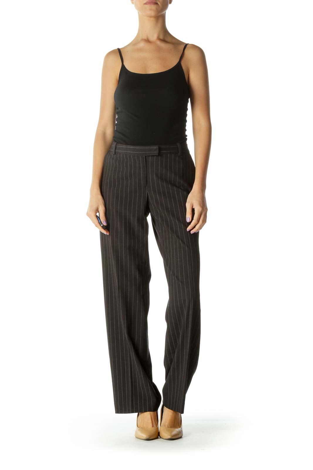 Black Pinstripe Straight-Leg Pants