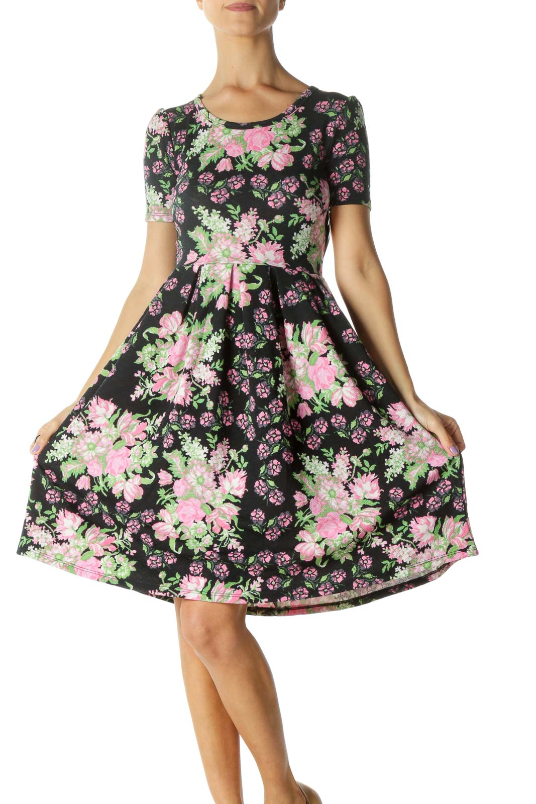 Black and Pink Floral Print A-Line Dress