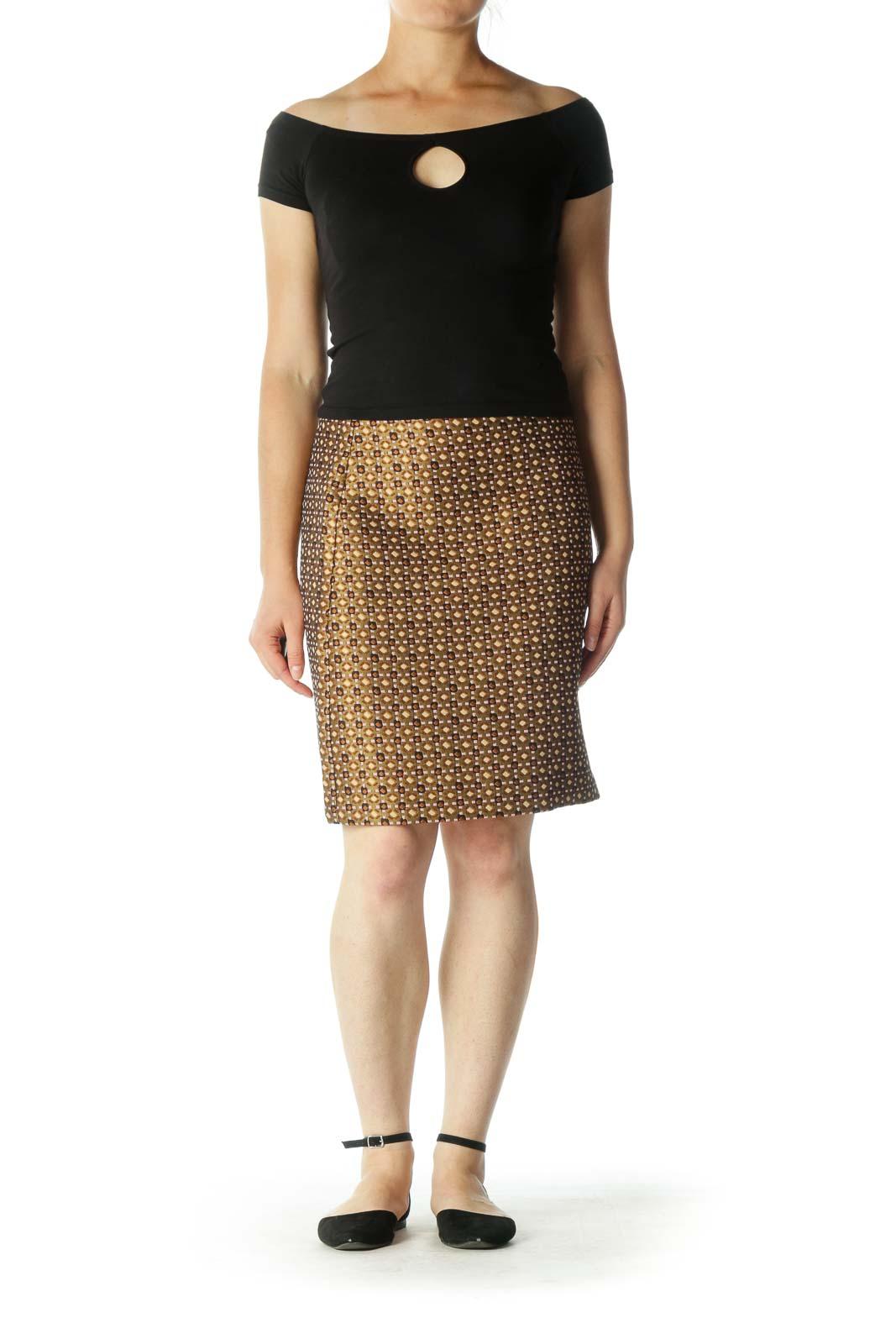 Gold Patterned A-Line Skirt