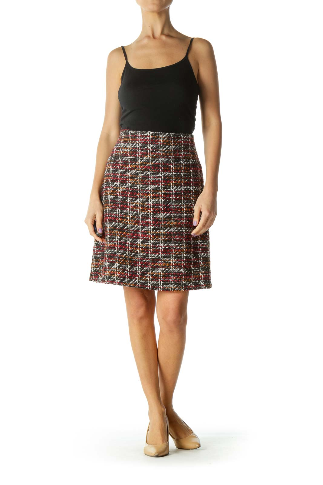 Black Red Knit Pencil Skirt
