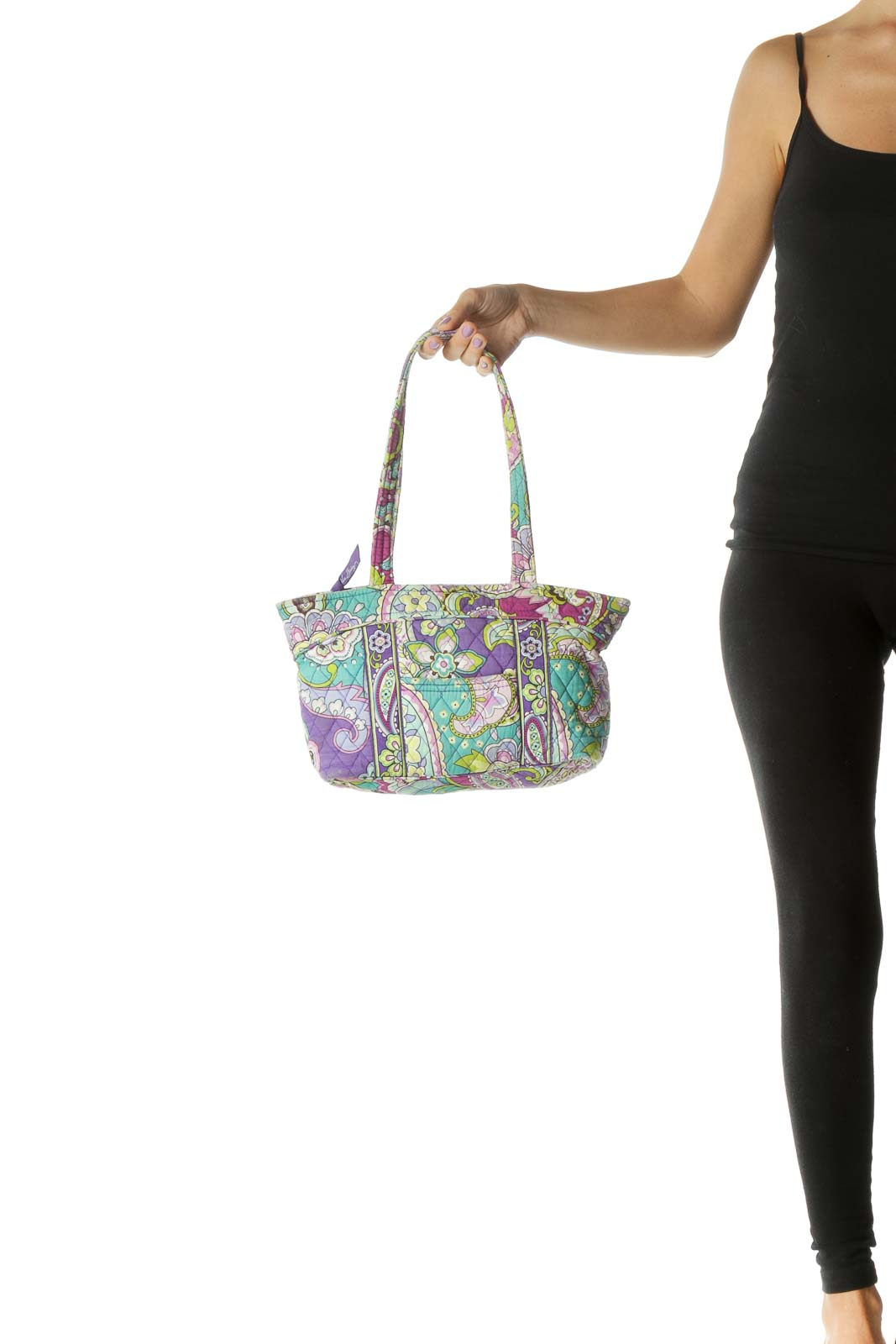 Purple Multicolor Paisley Print Quilted Shoulder Bag