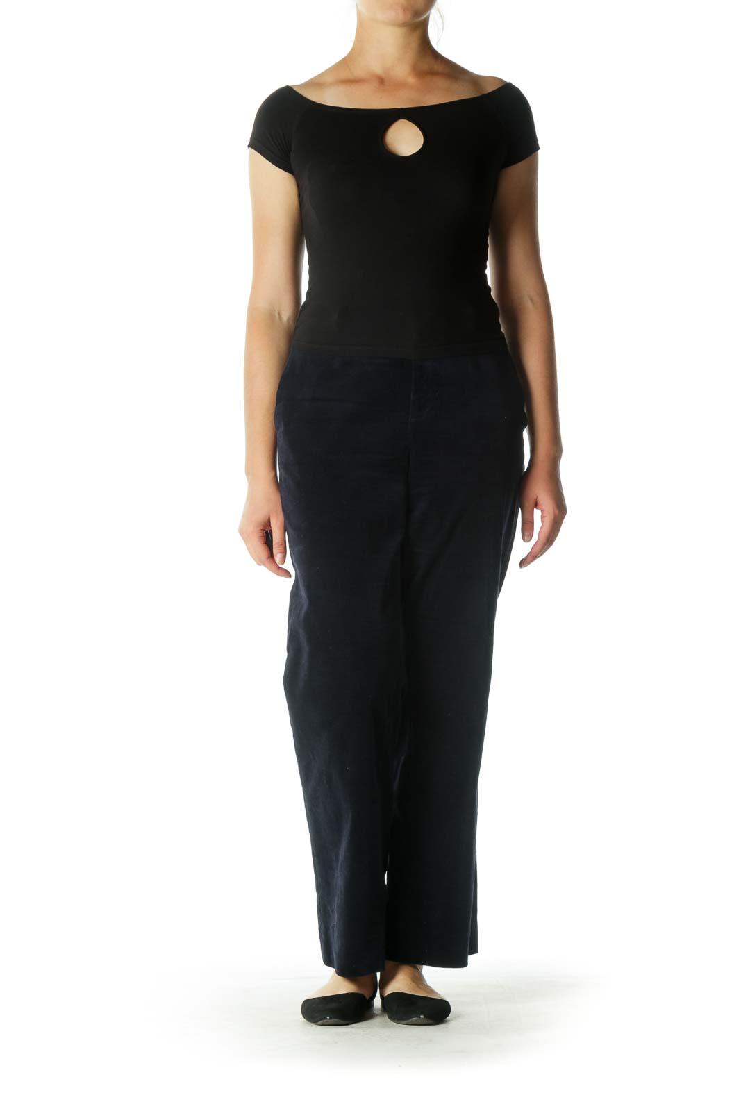 Navy Velvet Straight-Leg Pants