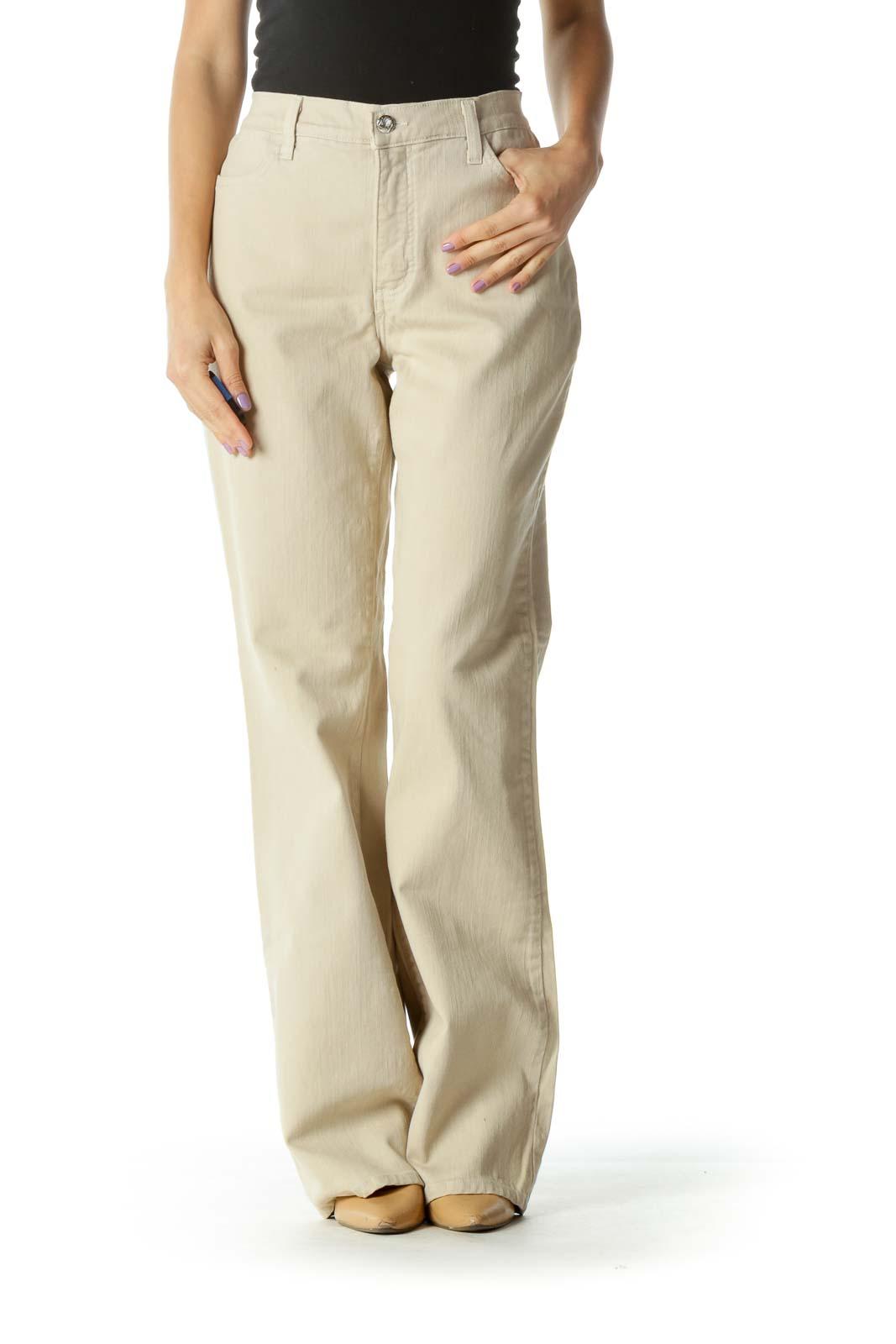 Beige Wide-Leg Pants