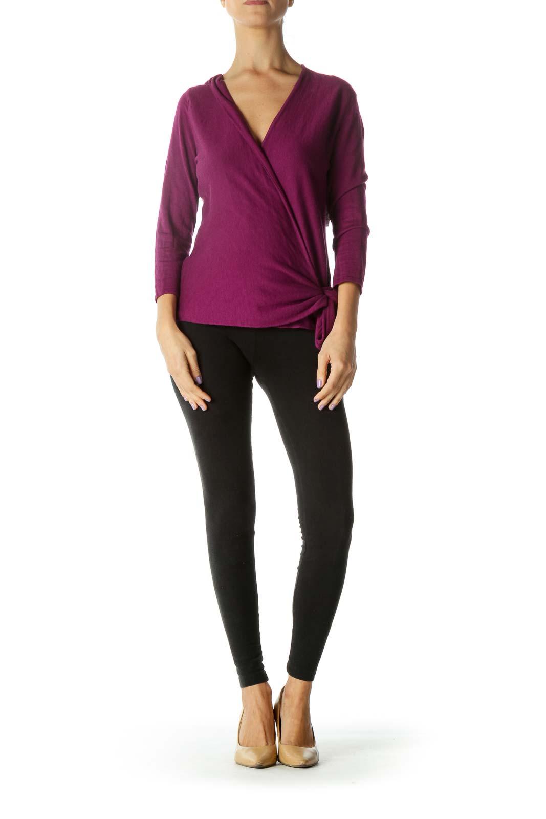 Purple V-Neck Wool Wrap Sweater