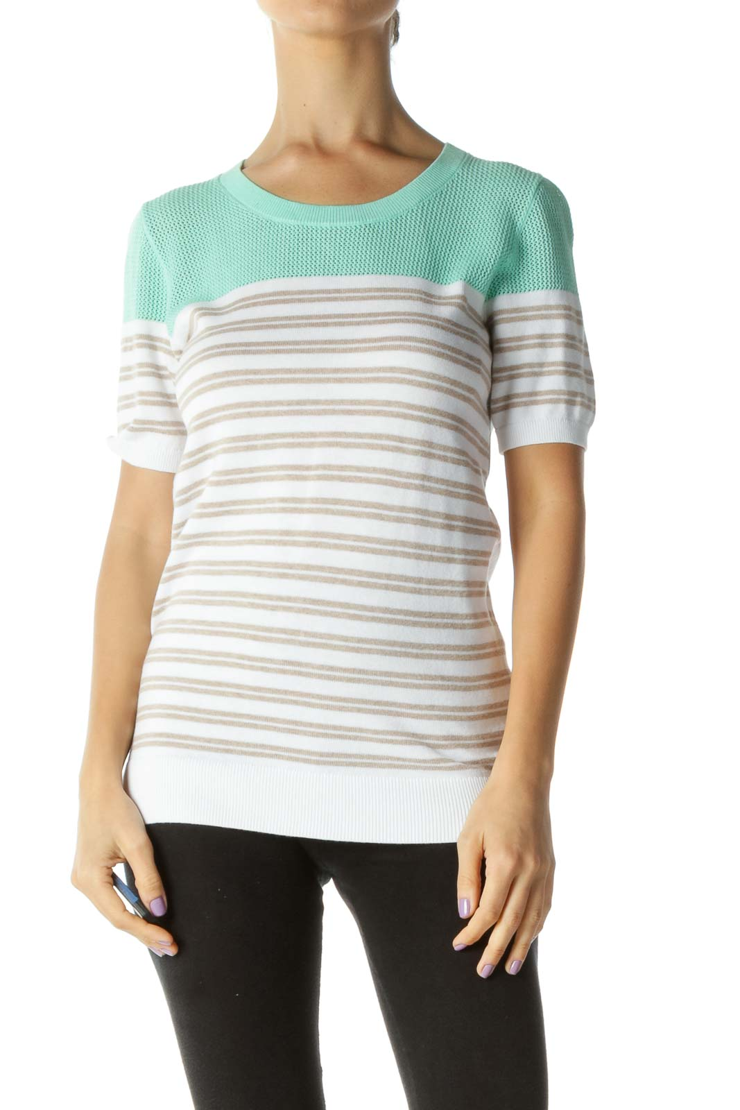 Mint-Green Brown White Striped Mixed-Media T-Shirt