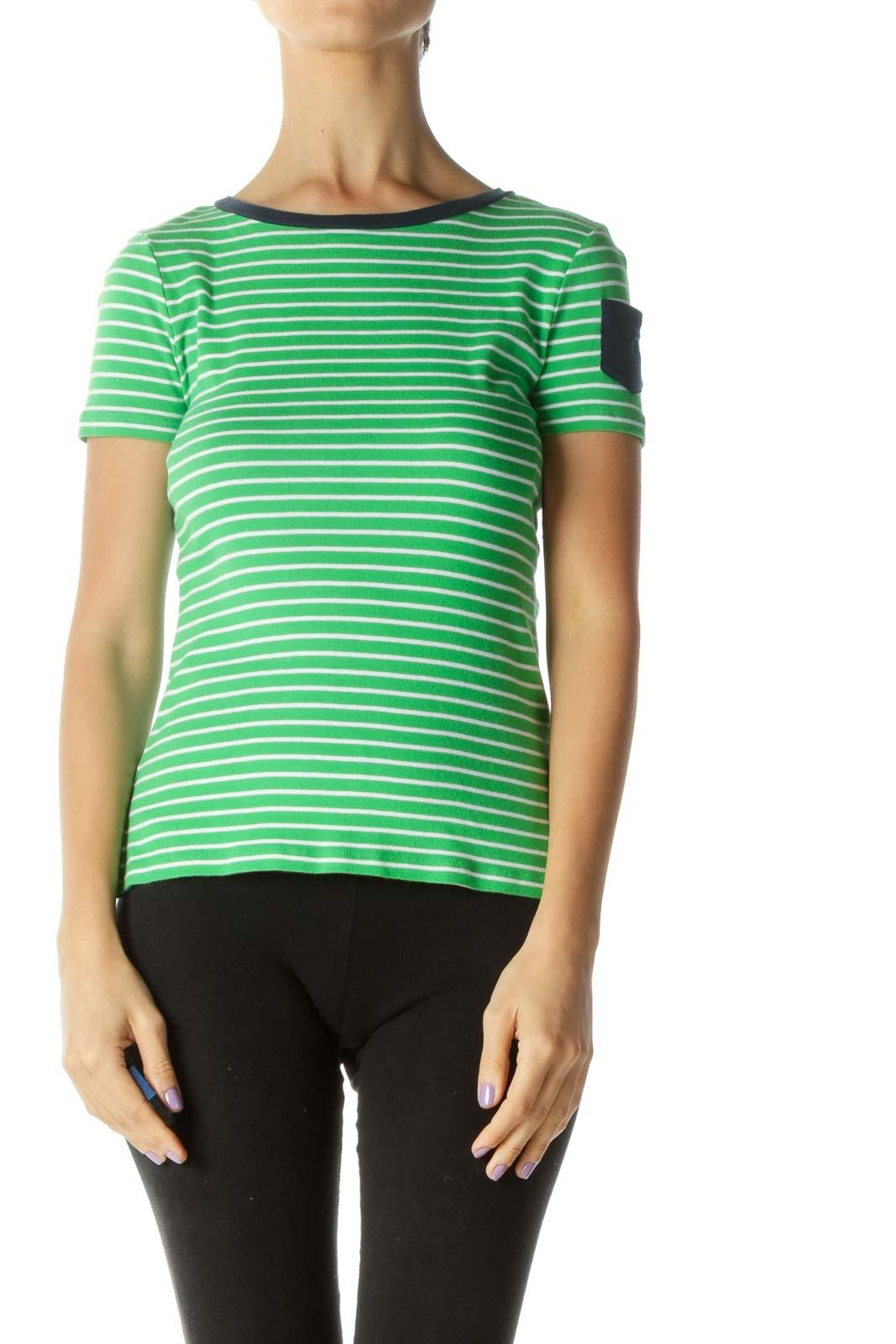 Green Blue White Striped Pocket T-Shirt