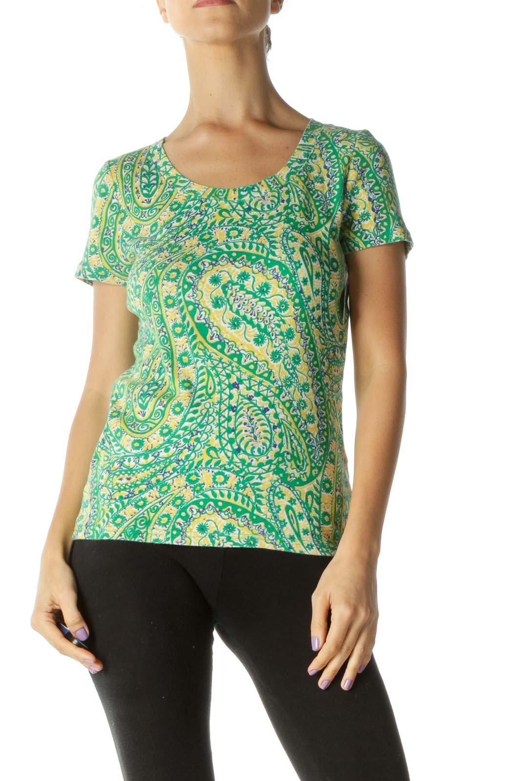 Green Yellow Blue Paisleys Print T-Shirt
