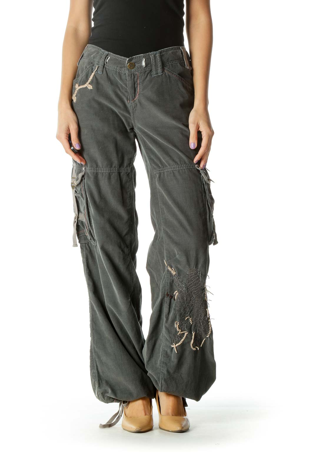Gray Embroidered Cargo Pants