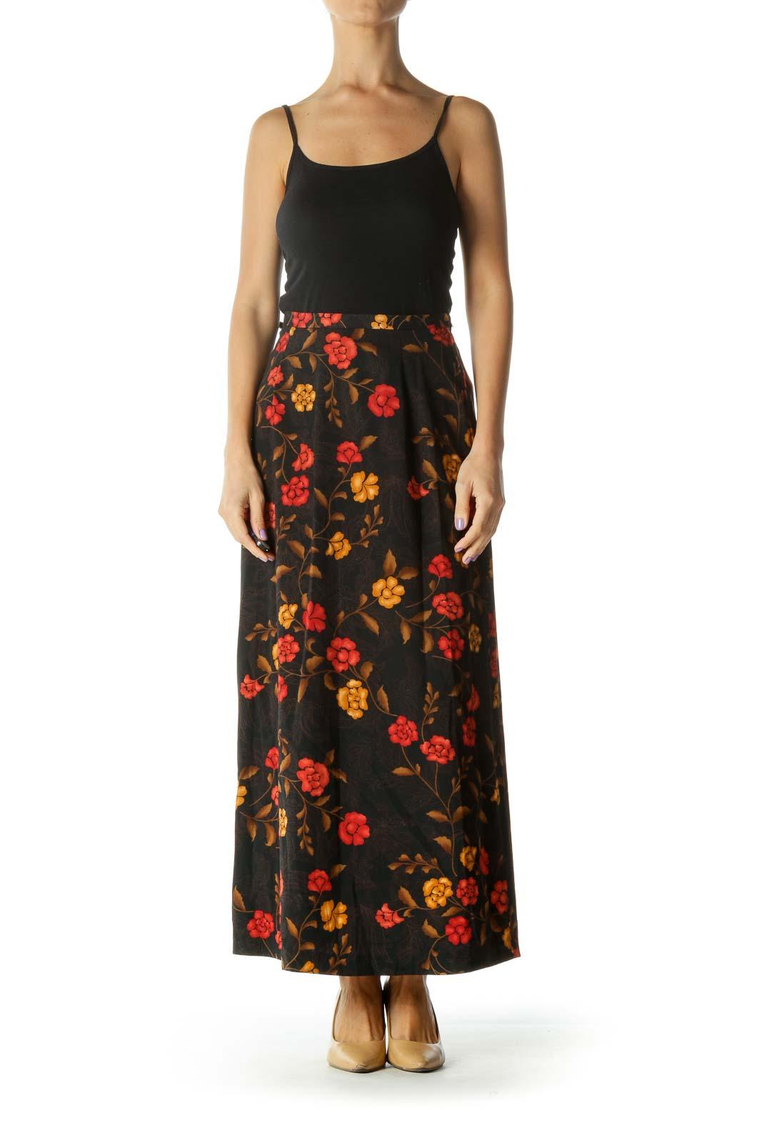 Black Orange Floral Maxi Skirt