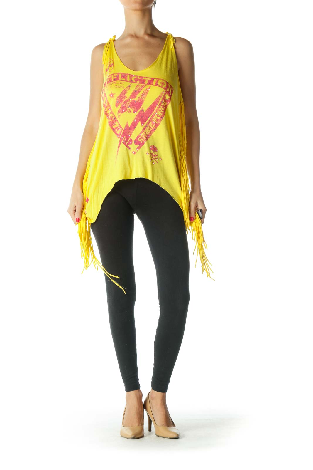 Yellow Fringe Tank Top