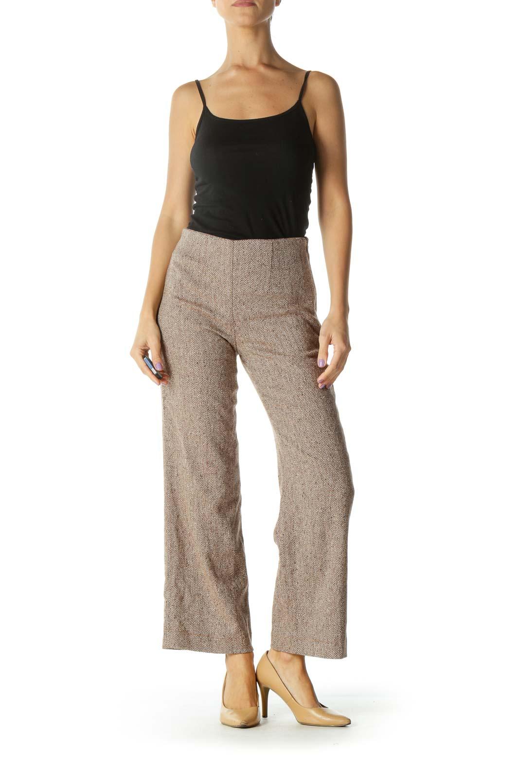 Brown Chevron Knit Straight Leg Pants