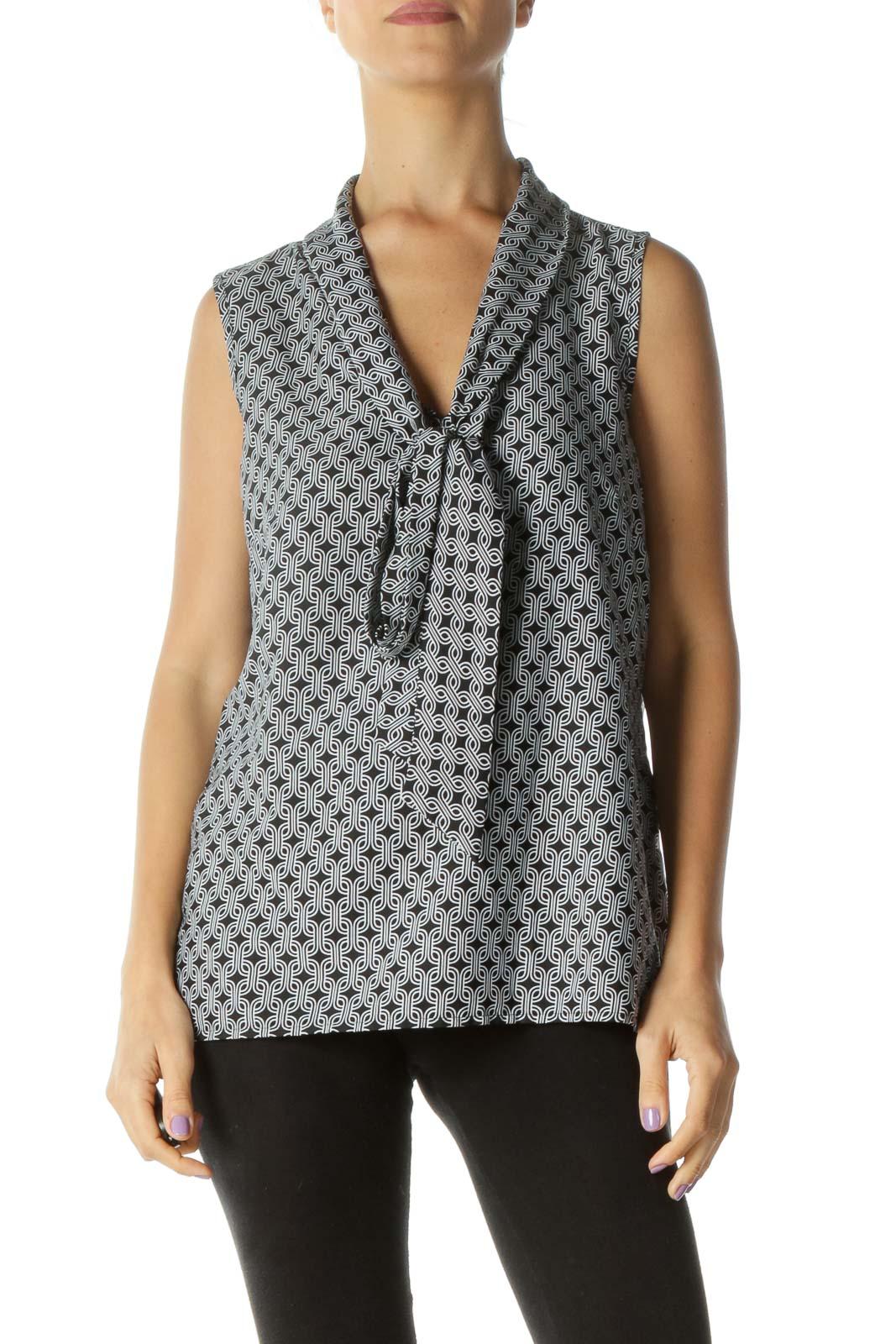 Black White Print Tie Detail Sleeveless Top