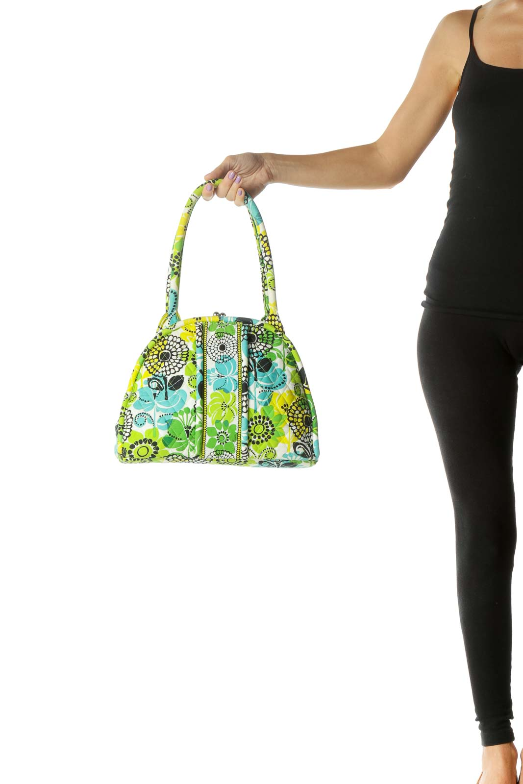 Green Multicolor Quilted Clasp Bag