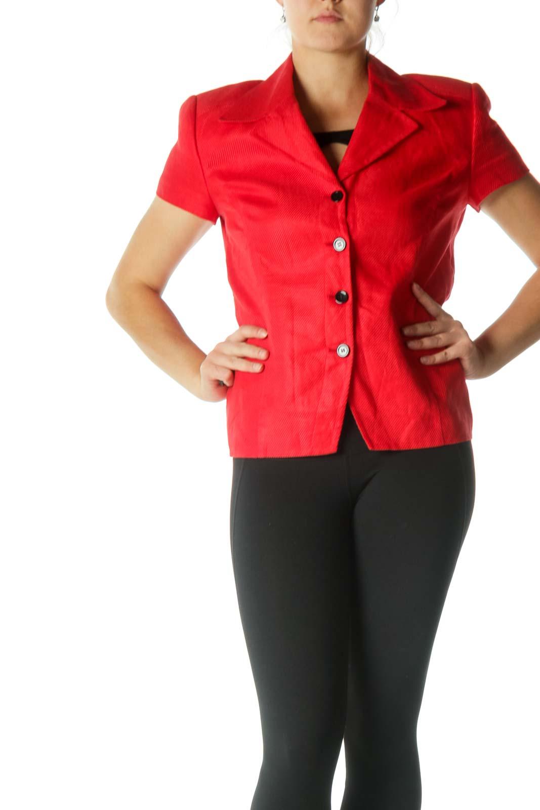 Red Short Sleeve Blazer