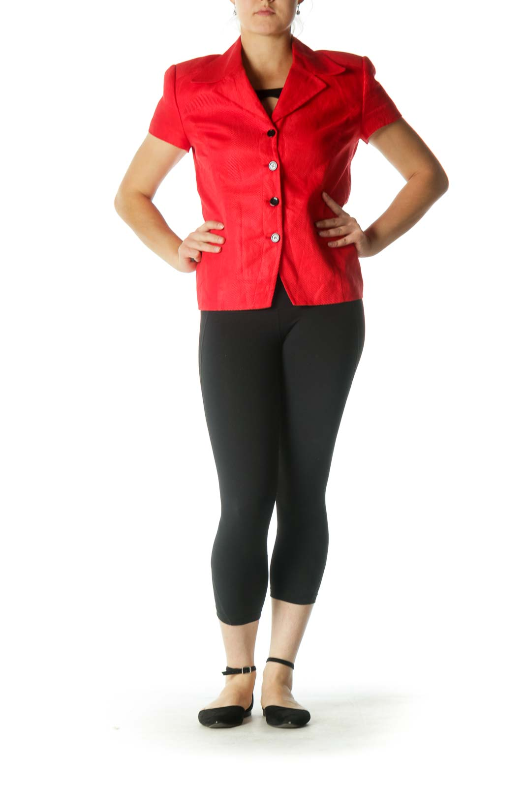 Red Short Sleeve Blazer