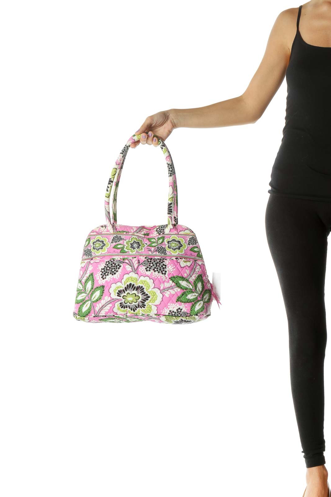 Green and Pink Floral Print Quilted Bag