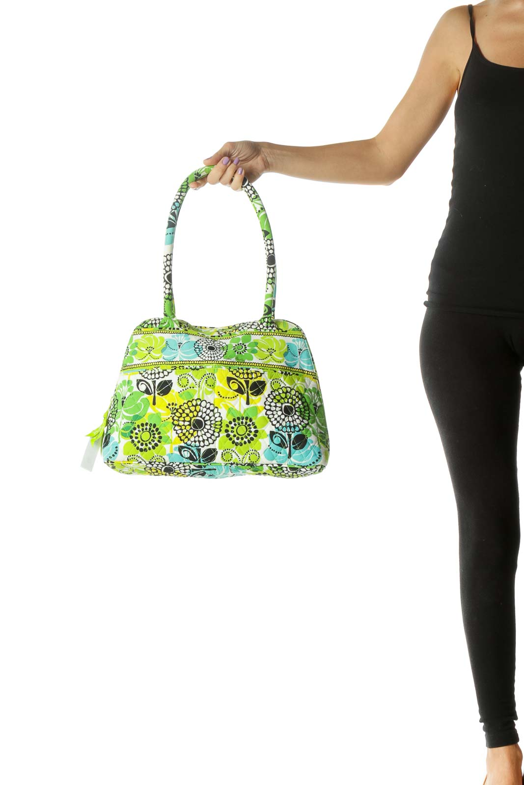 Green and Yellow Floral Print Quilted Satchel