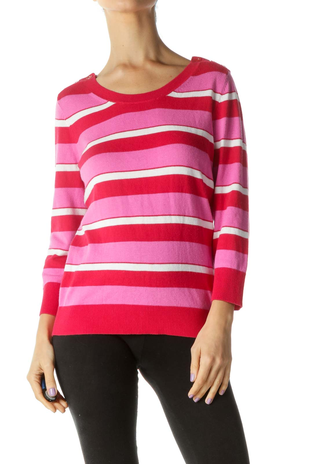 Pink Red White Striped Button Details Sweater