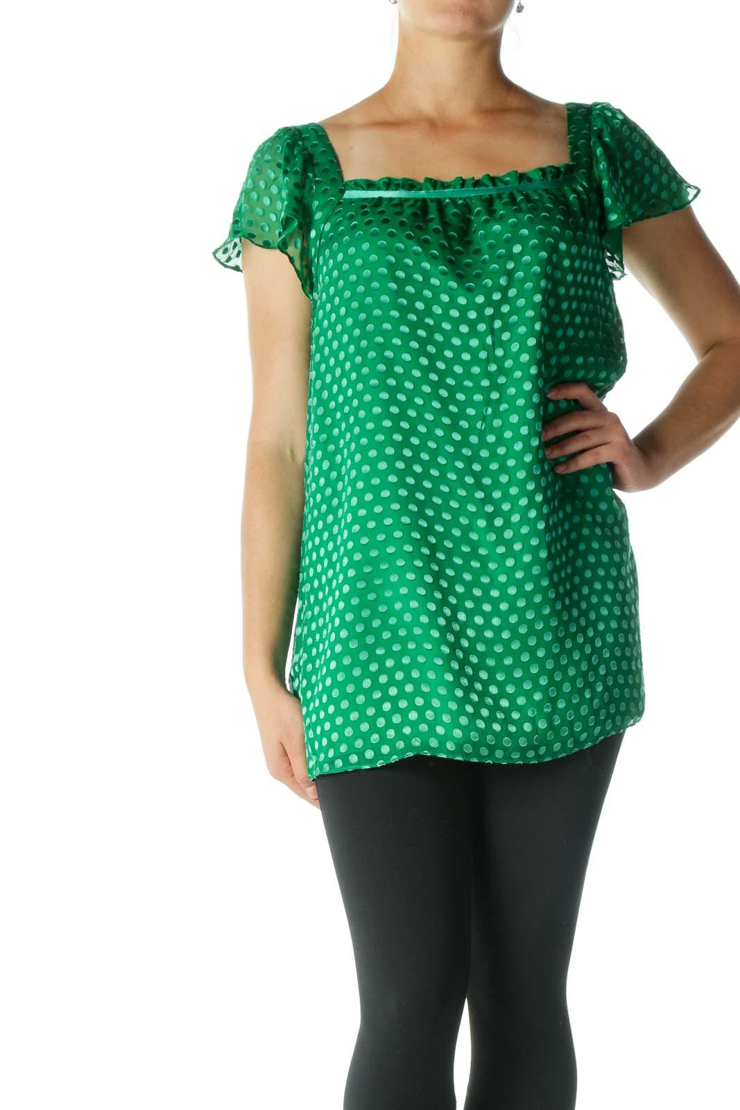 Green Silk Square Neckline Textured Top