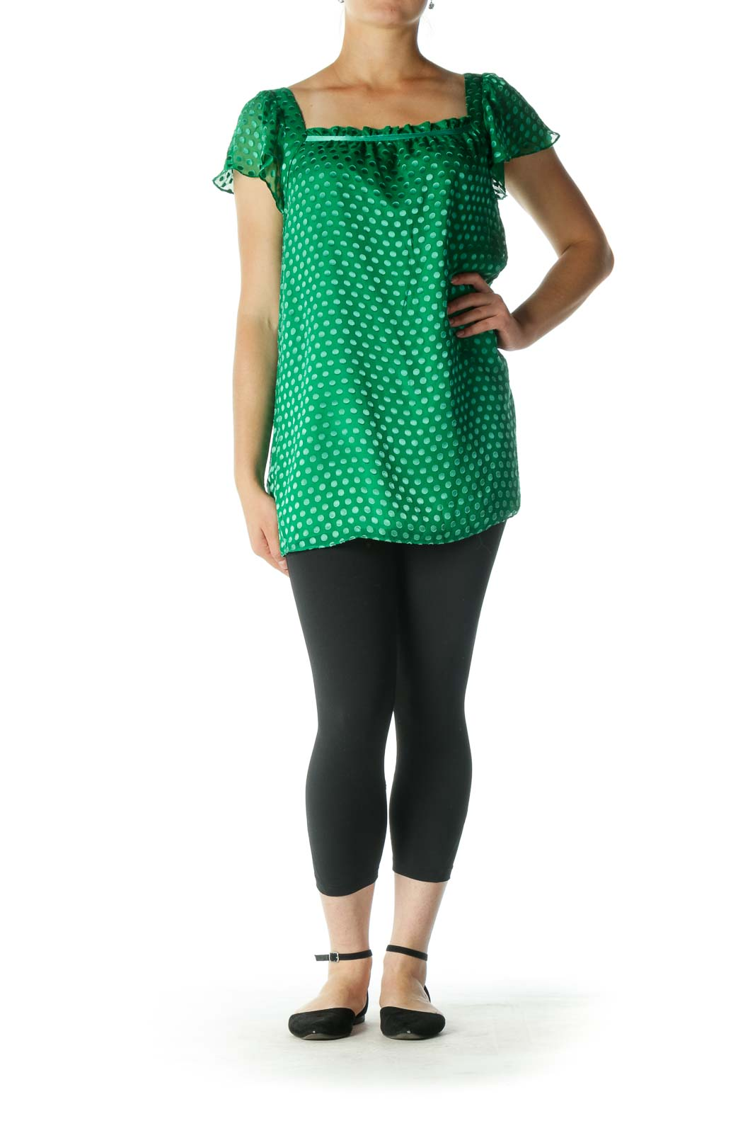 Green Silk Square Neckline Textured Top