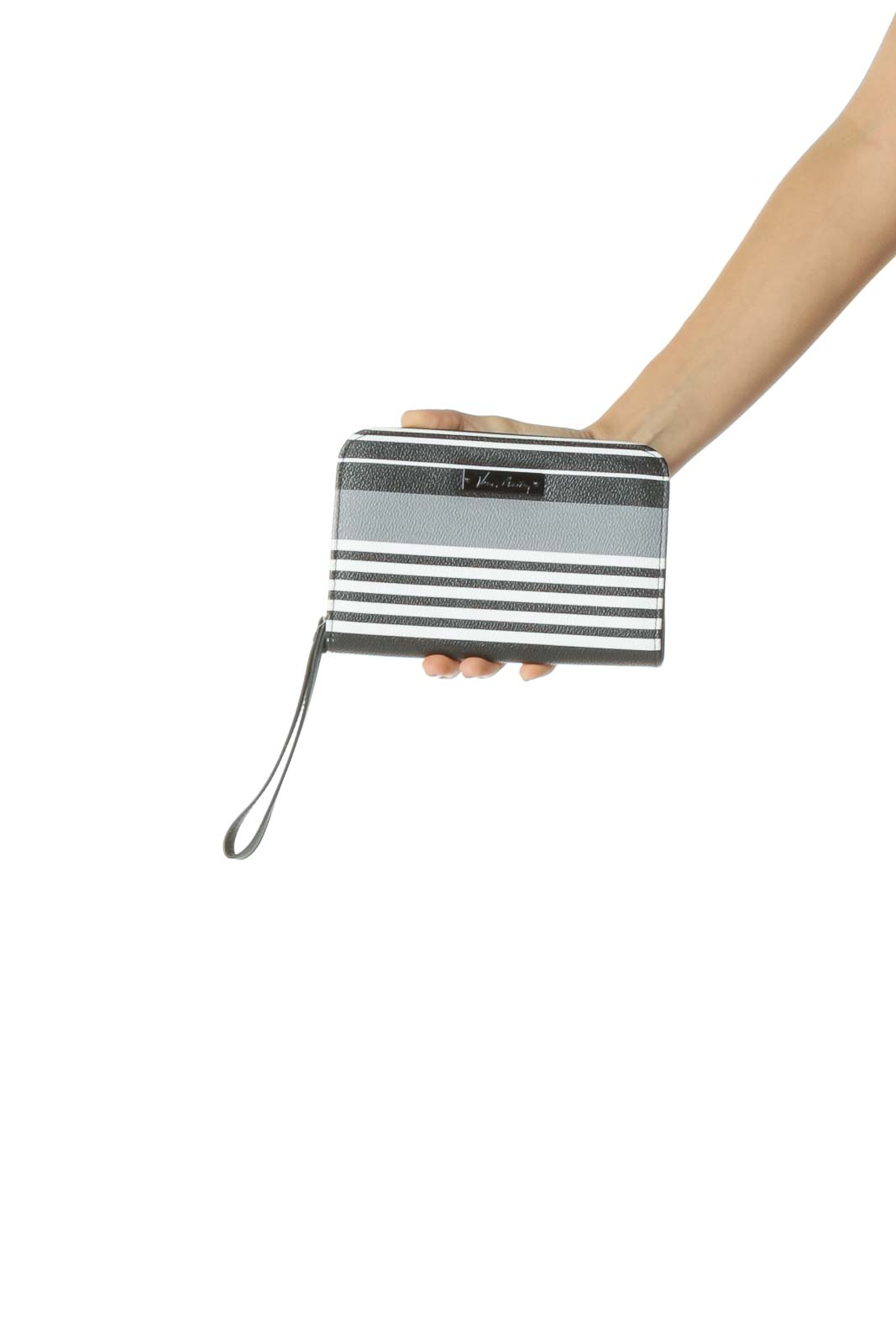 Black Gray and White Striped Clutch