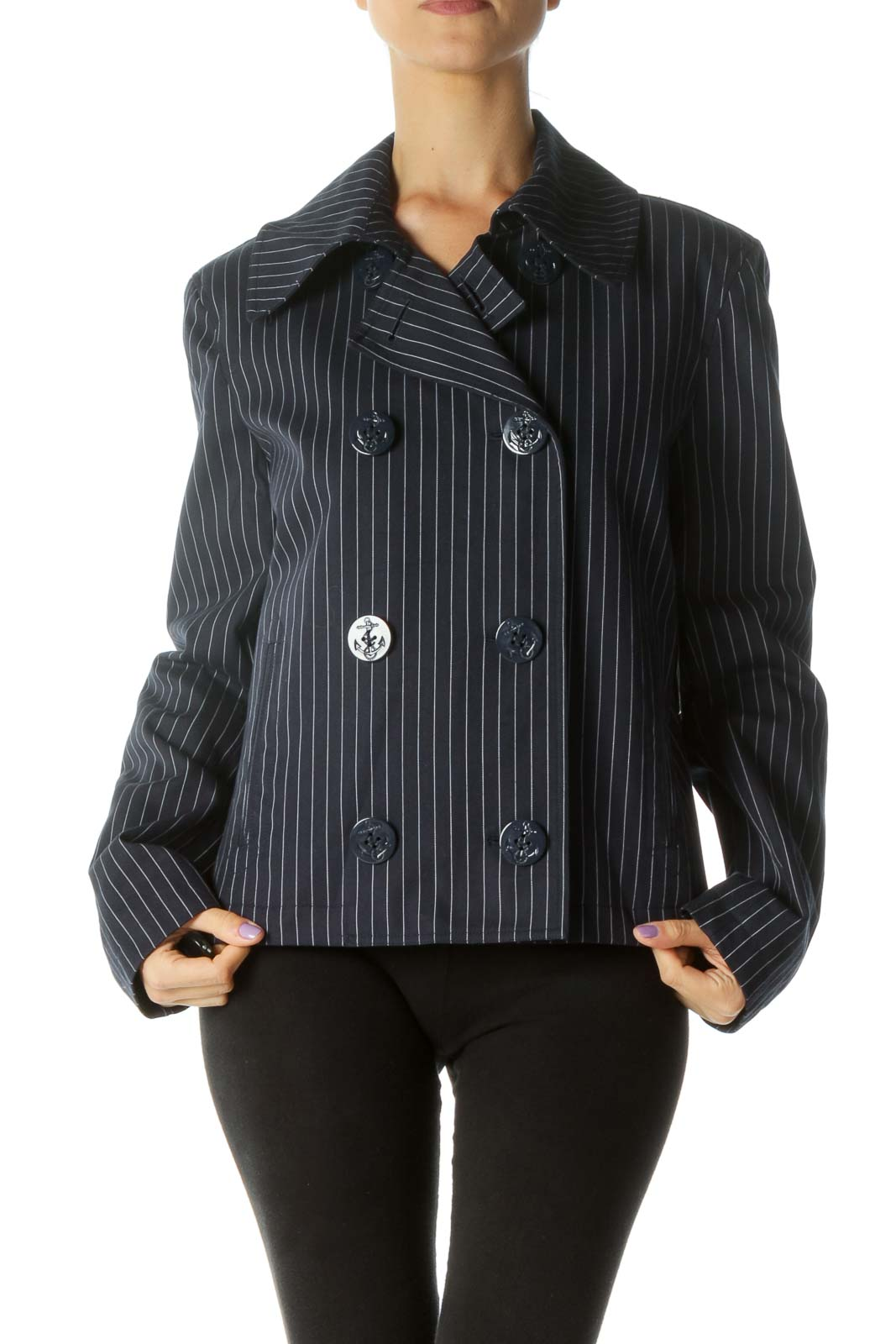 Navy and White Striped Double-Breasted Coat