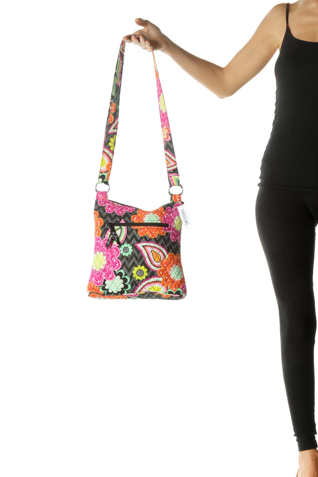 Orange and Pink Multicolor Floral Quilted Crossbody Bag