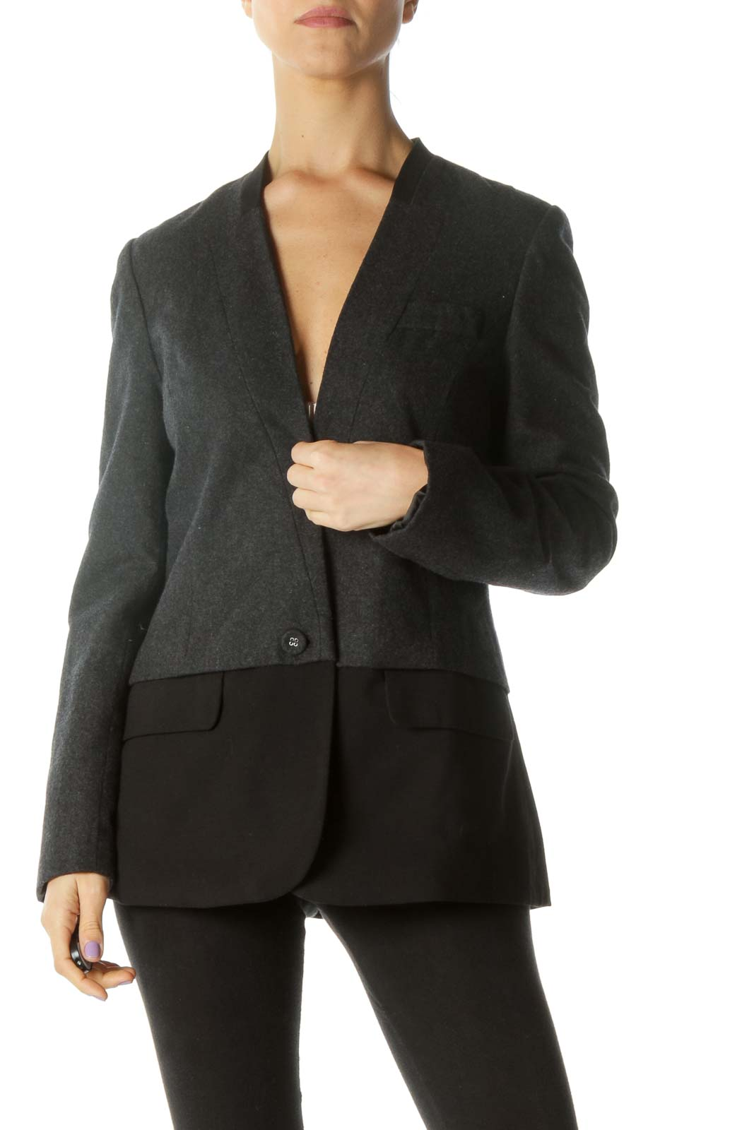 Gray Deep V-neck Blazer