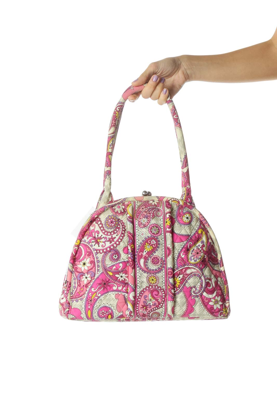Pink Paisley Print Quilted Bag