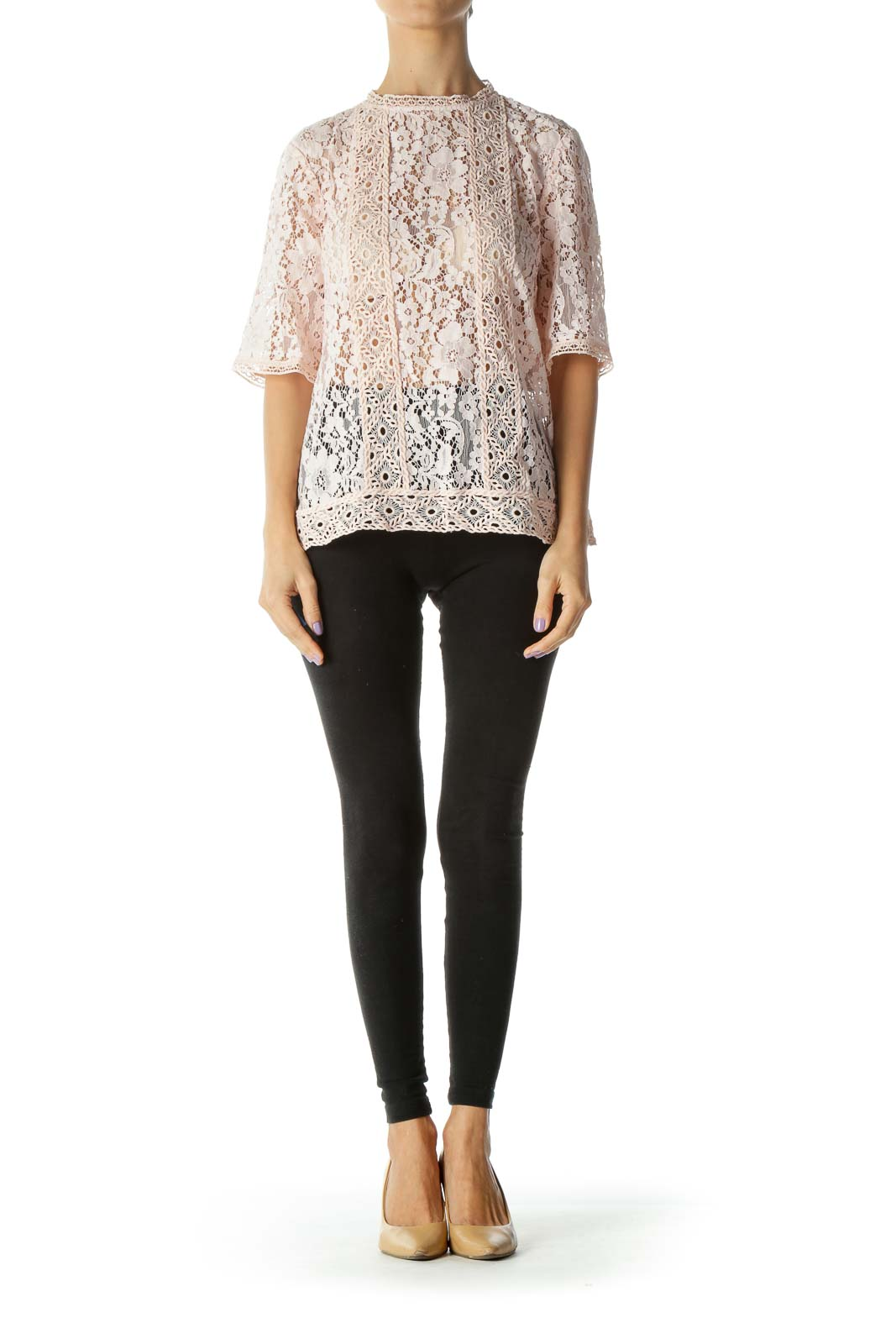 Pink Floral Lace Knit Top