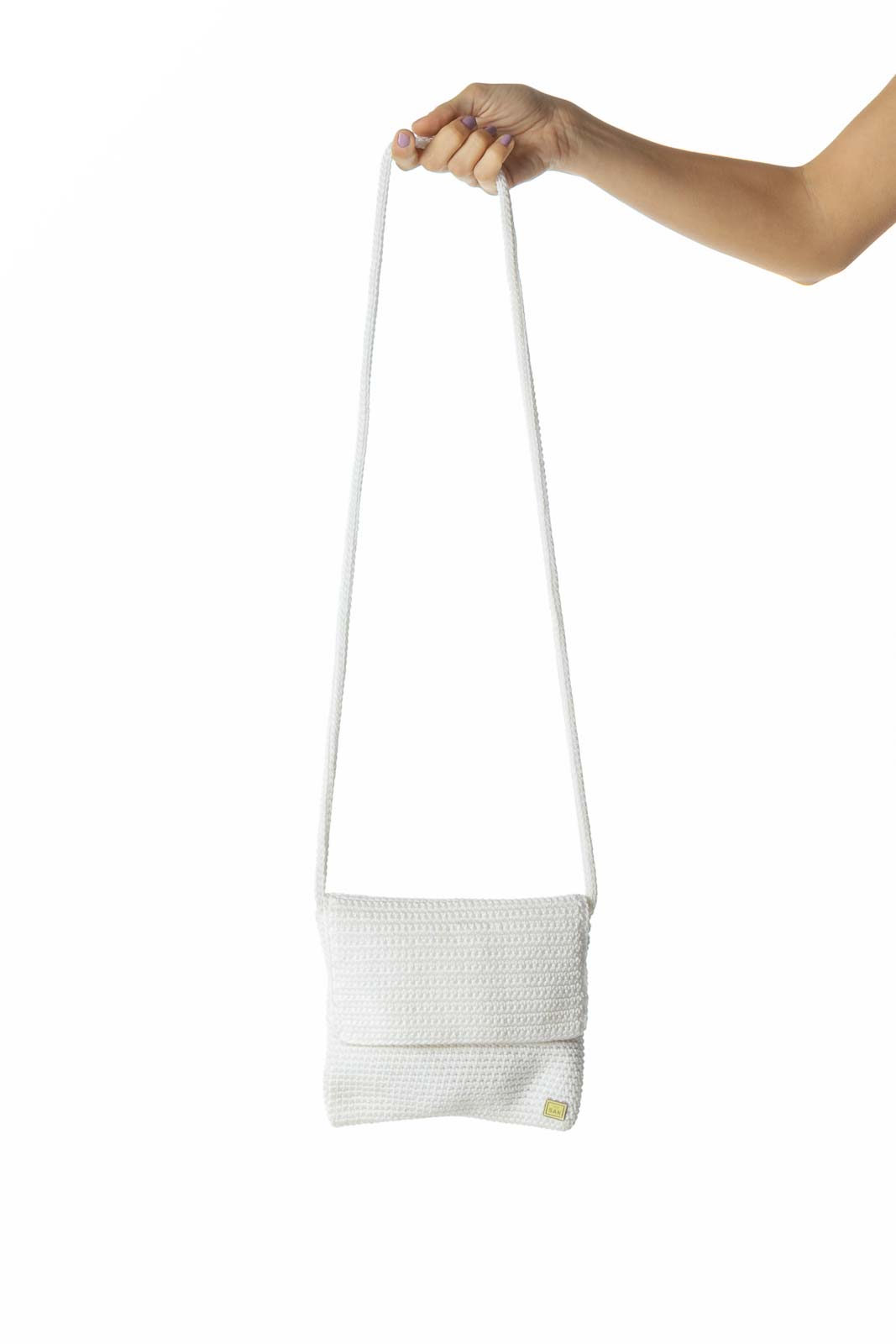 White Knit Crossbody Bag