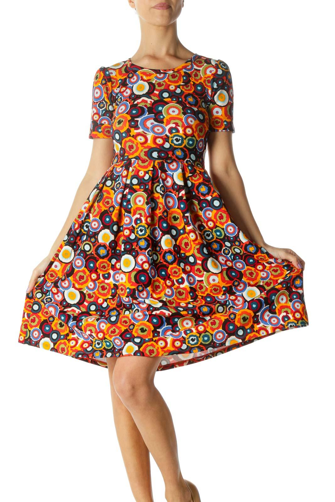 Orange Multicolor Circle Print A-line Dress