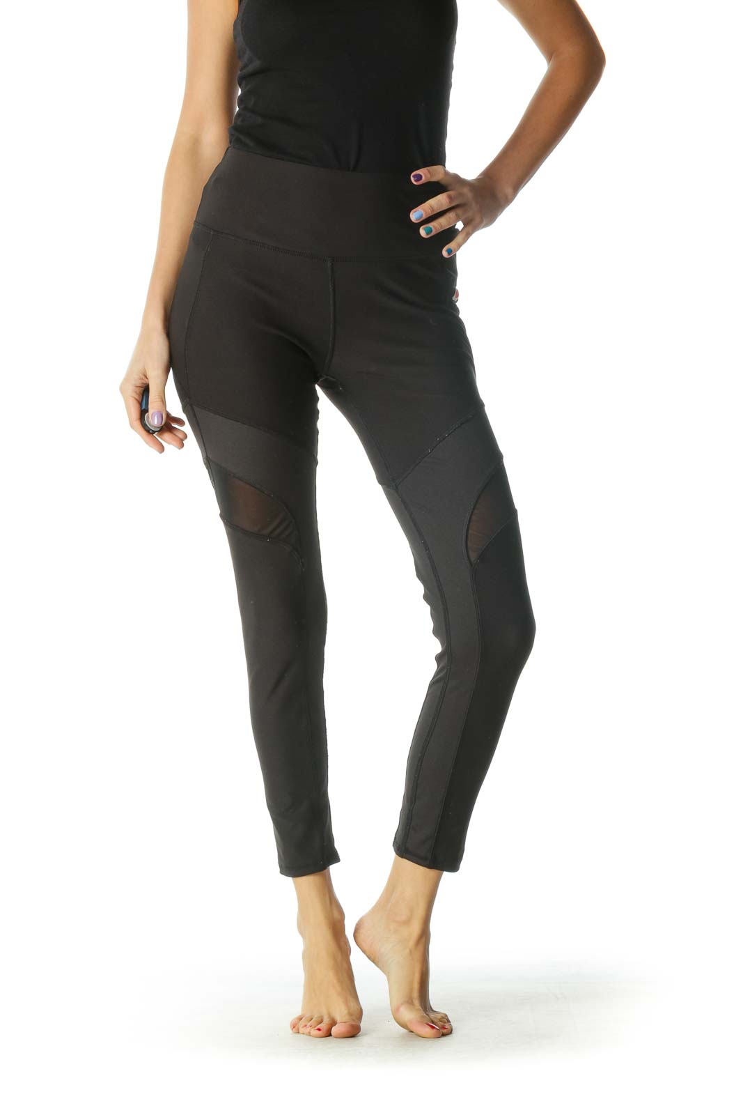 Black Mesh Paneled Leggings