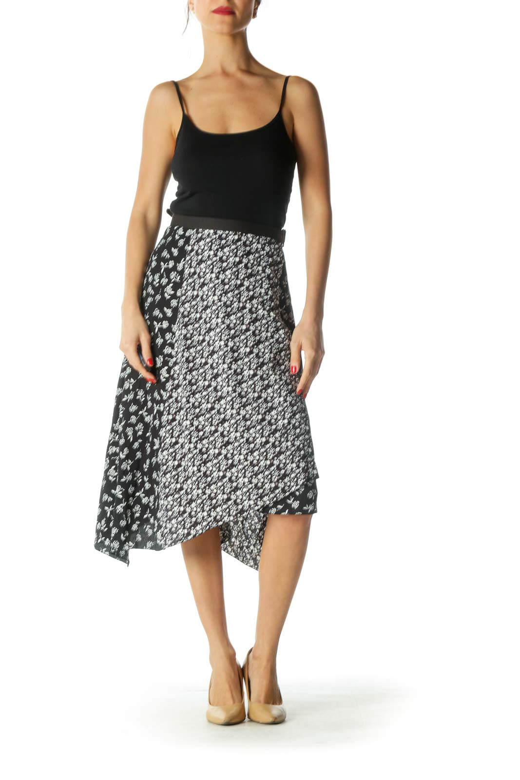 Black and White Floral Print Asymmetrical Skirt