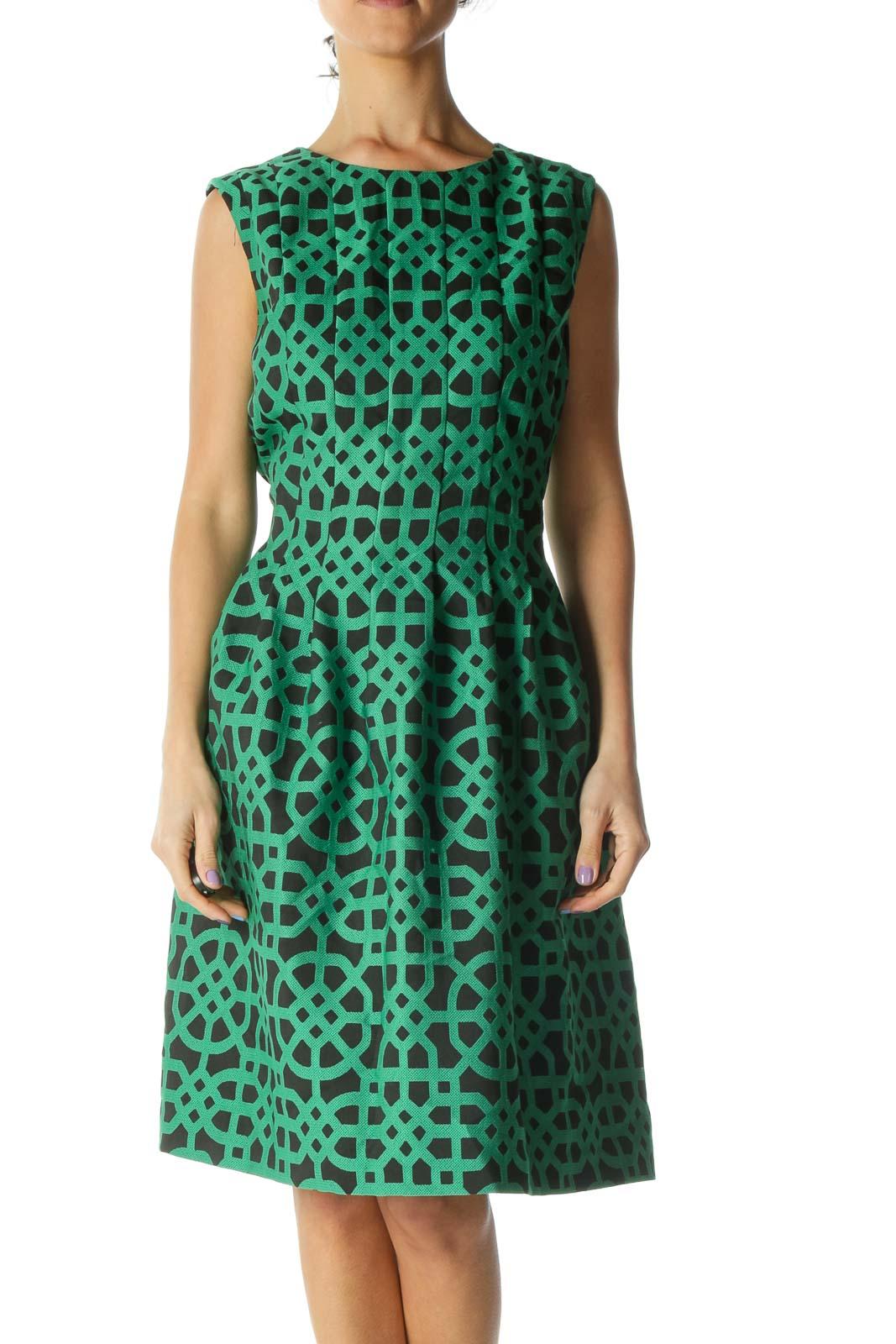 Green Black Pleated Dress