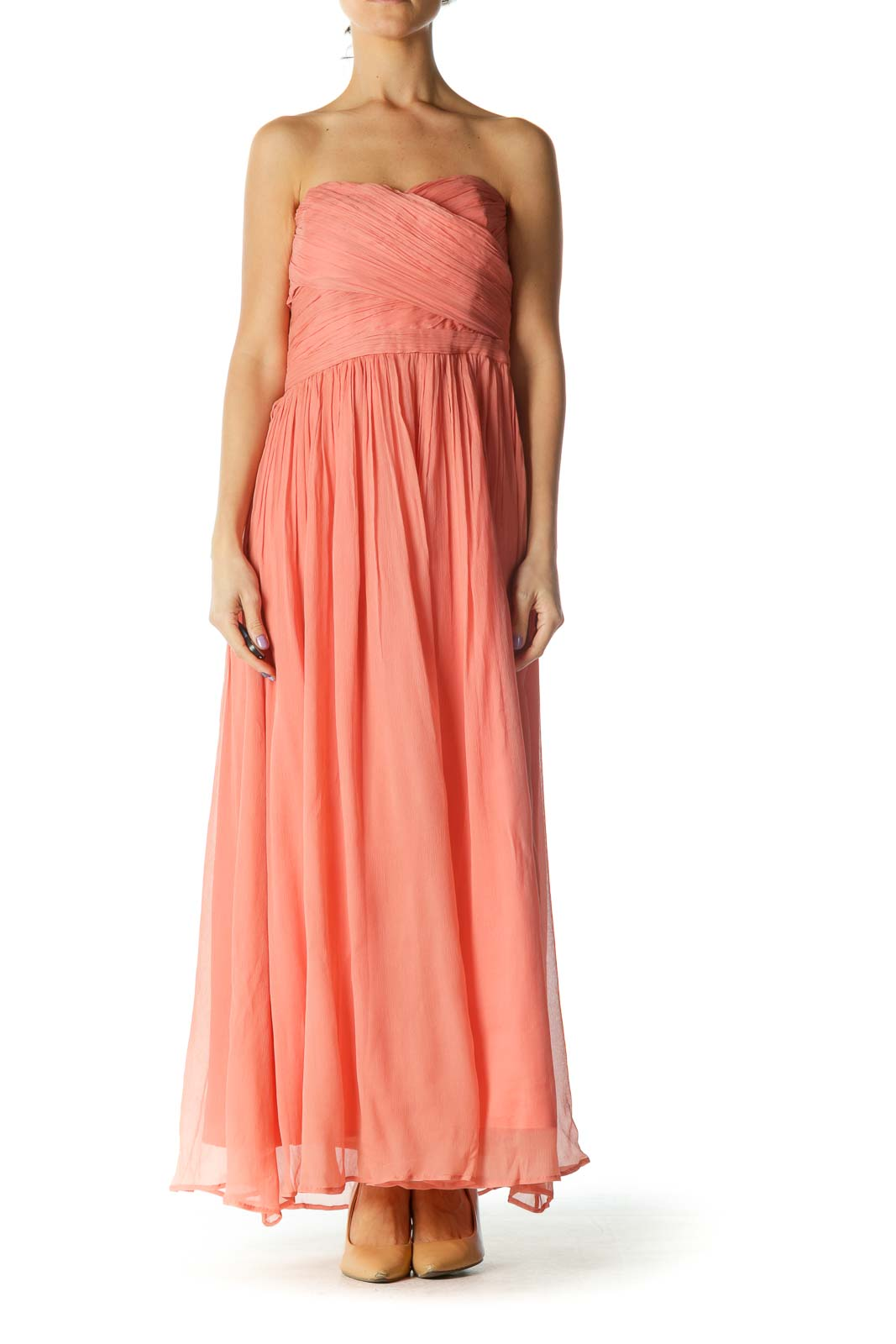 Pink Strapless Evening Gown