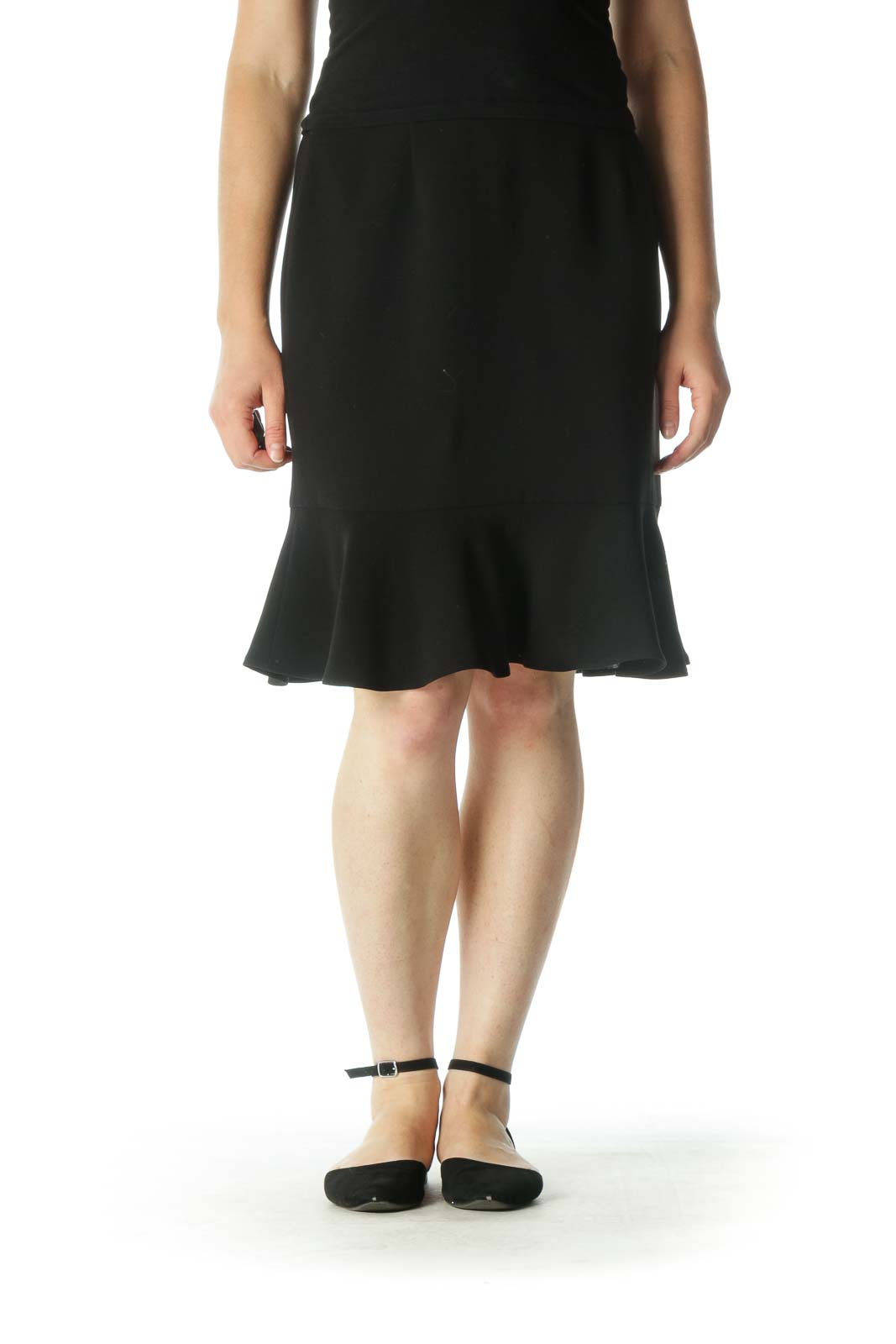 Black Flared Pencil Skirt