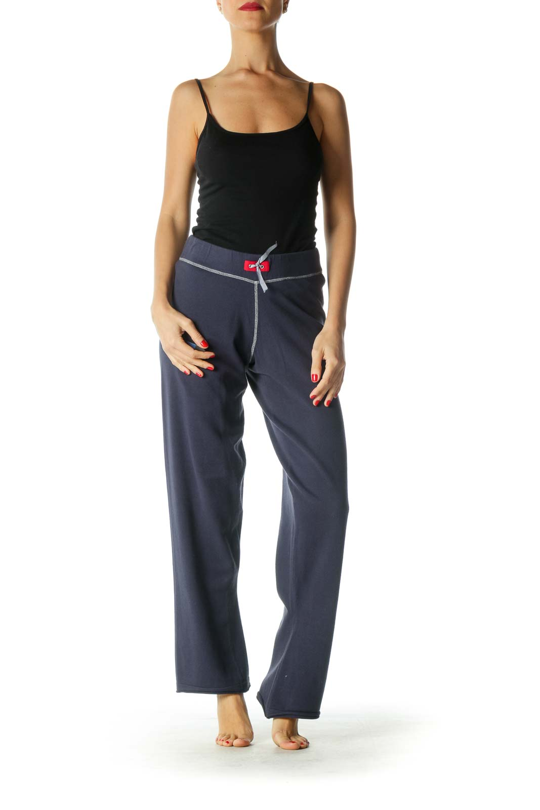 Navy Straight-Leg Sweatpants