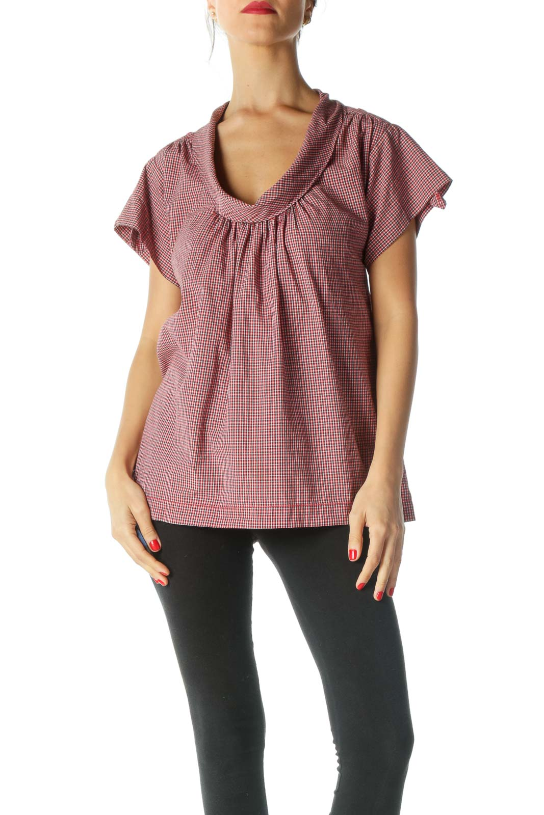 Red Checkered Pleated Top