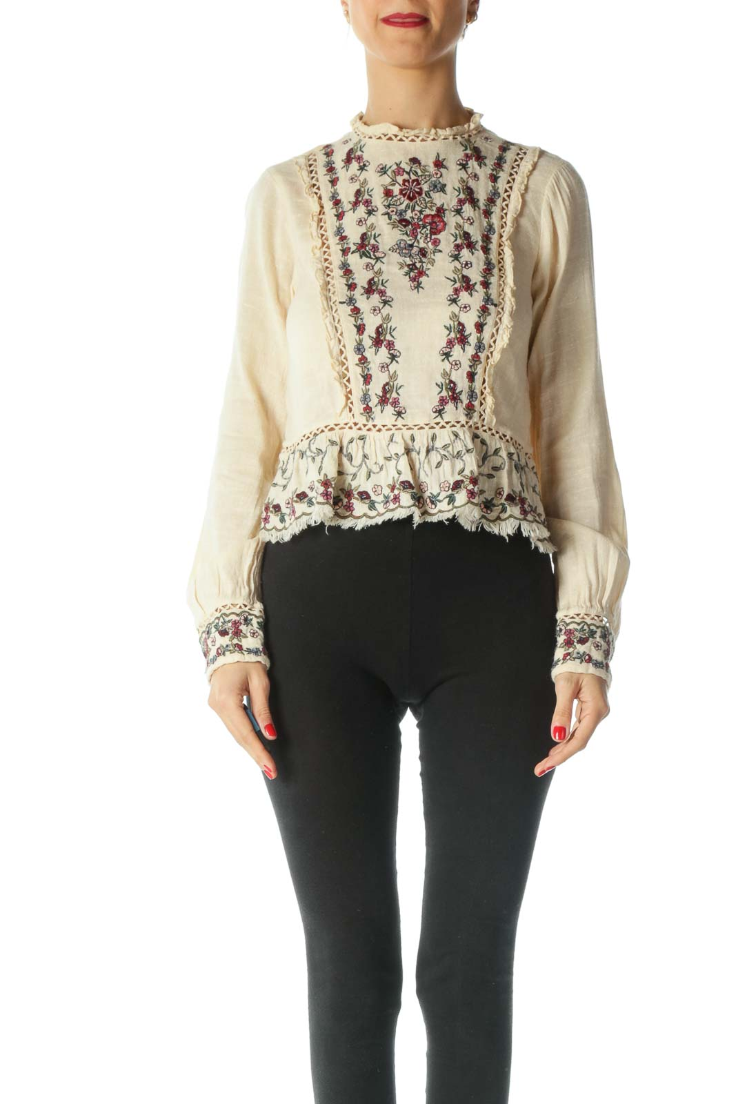 Cream Embroidered Peplum Top