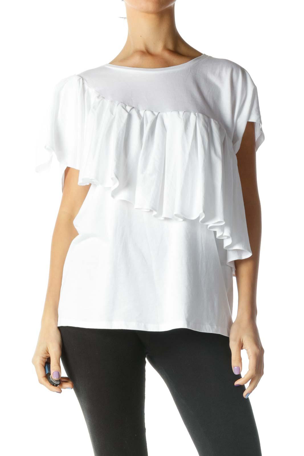 White Asymmetric Ruffled Top