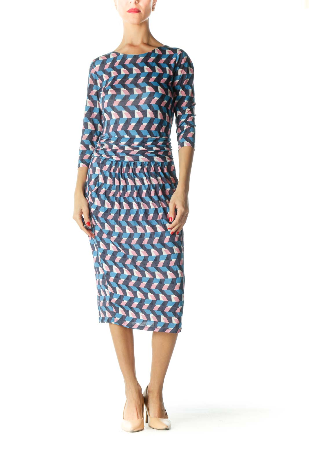 Blue Pink White 3/4 Sleeve Print Day Dress