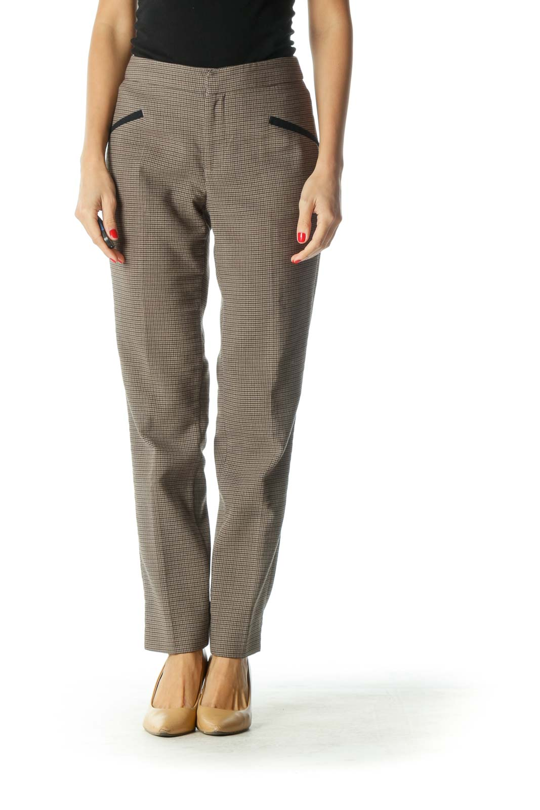 Brown Plaid Straight Leg Pants
