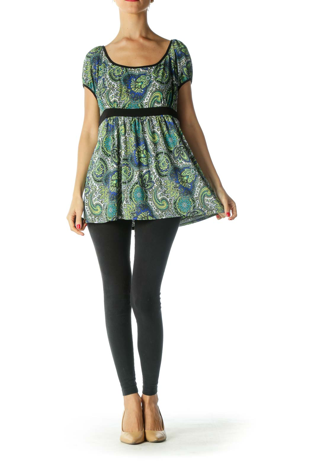 Green Paisley Short Sleeve Top