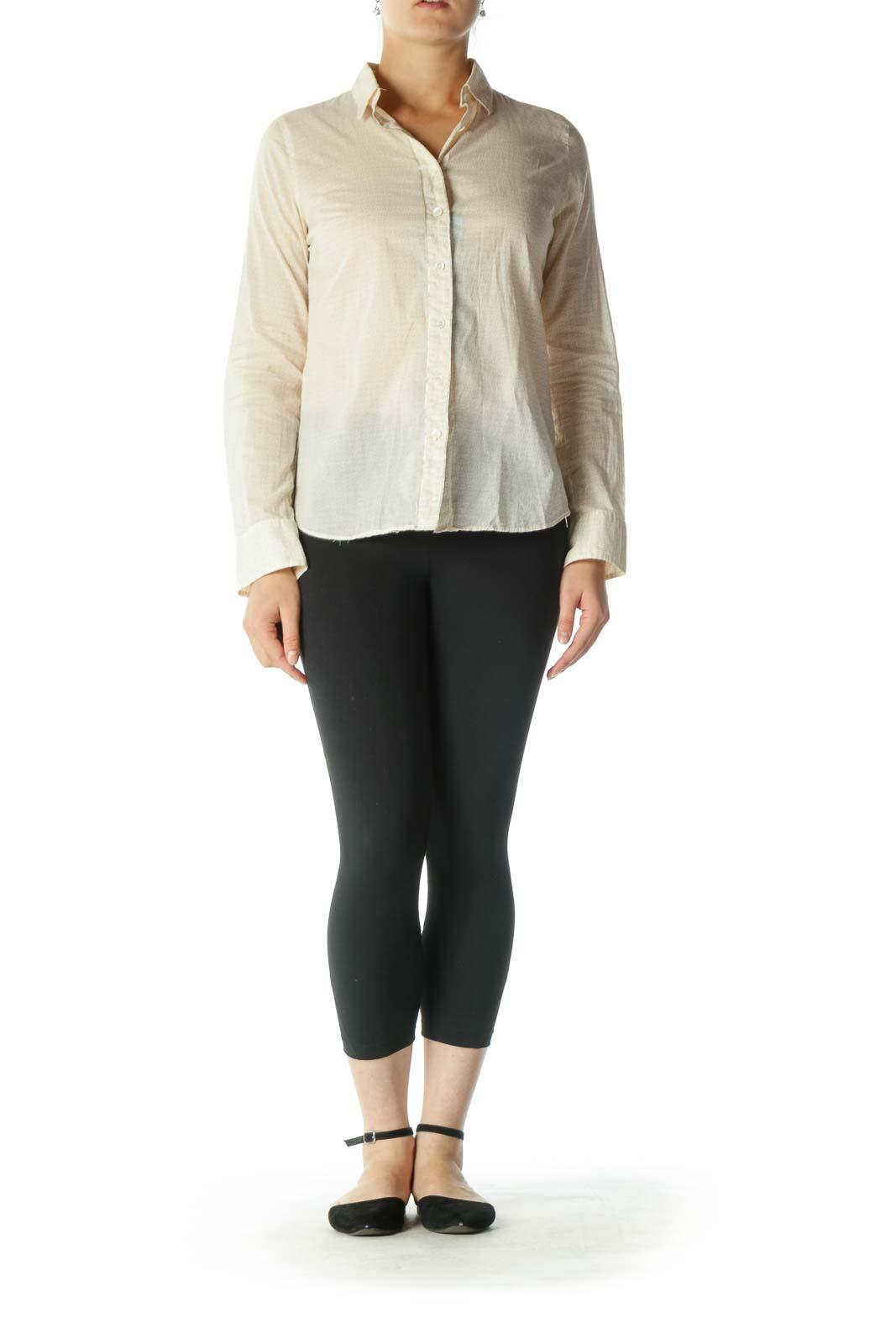 Beige Cream Silver Trim 100% Cotton Print Shirt
