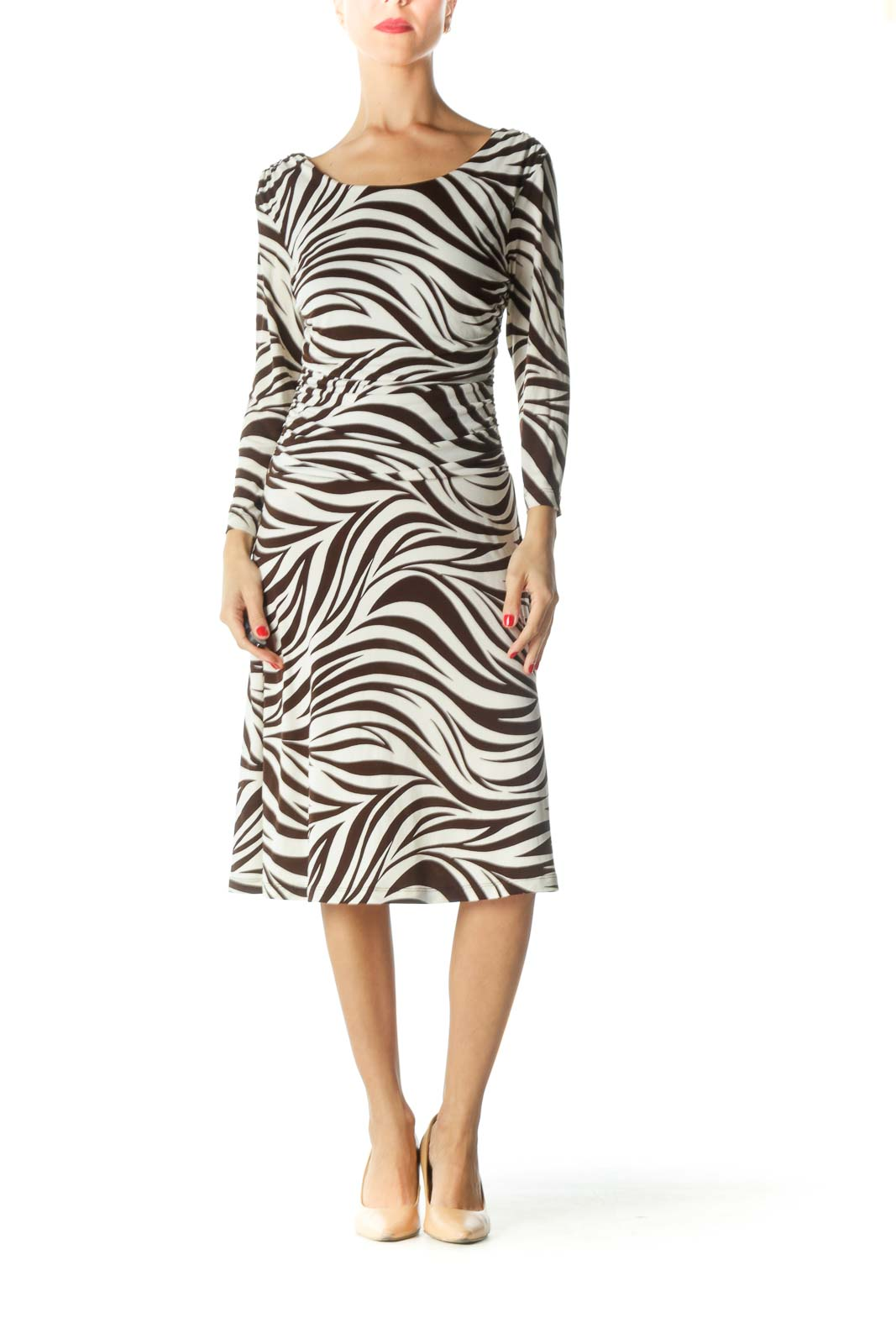 Brown Cream Boat Neck Zebra Print Dress